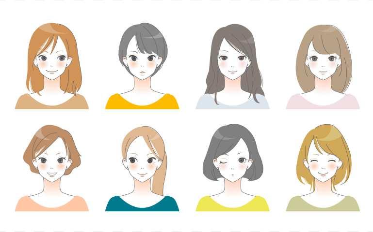 色んなカラーの髪をした女性の画像